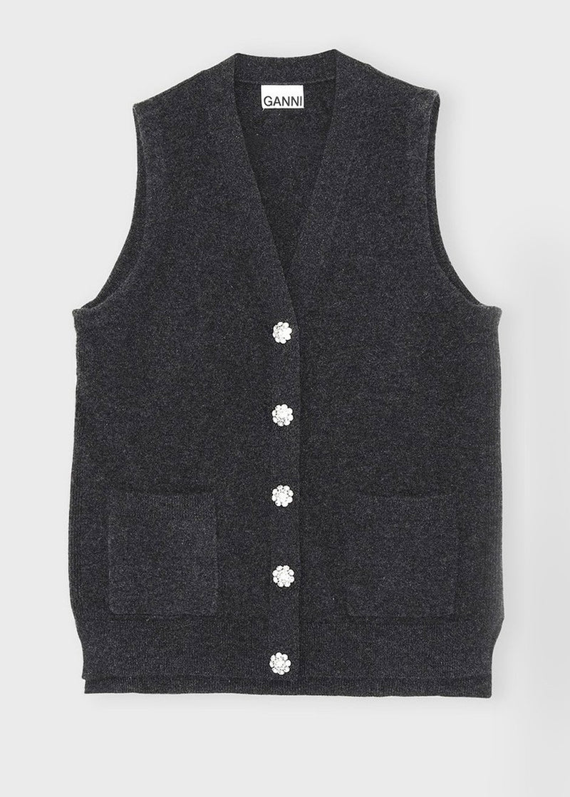 Cashmere Knit Vest by GANNI in Charcoal Vest Ganni