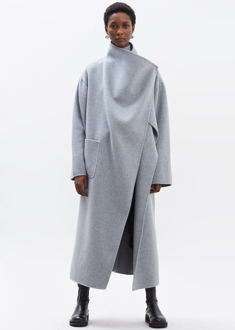 Casi Oversized Cashmere Blend Shawl Coat in Heather Grey Coat Yull