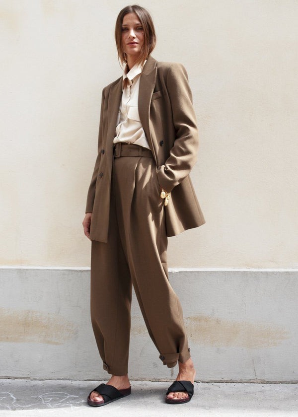 Cedar Brown Belted Suit Pants with Button Tab Cuff Pants Blossom