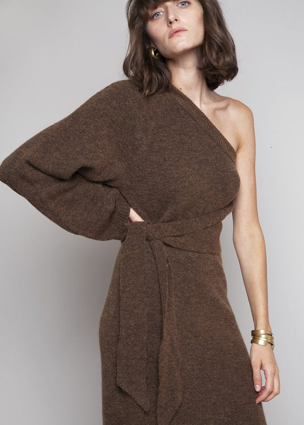 Cedro One Sleeve Asymmetric Midi Dress by Nanushka in Brown Dress Nanushka