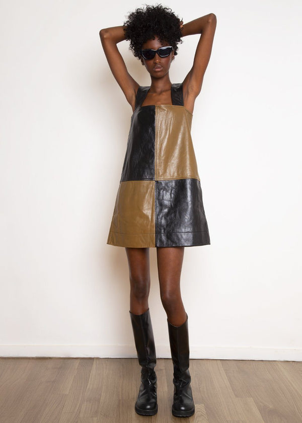 Checkerboard Leather Mini Dress by GANNI in Block Color Dress Ganni