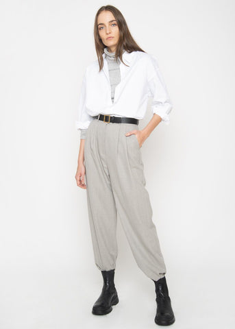 Chevron Herringbone Belted Trousers- Pale Grey pants The Frankie Shop