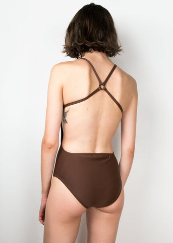 Chocolate Brown Criss Cross One Piece Swimsuit swimsuit The Open