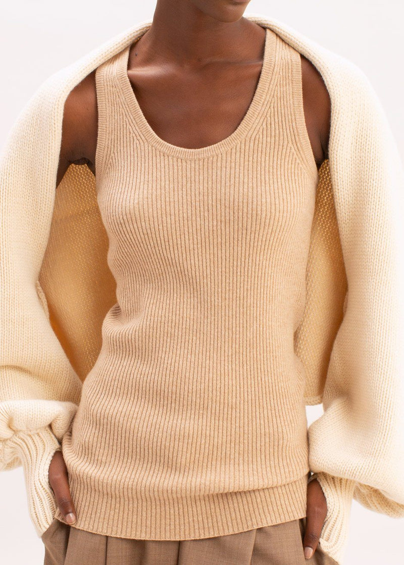 Christy Ribbed Knit Tank by Rika Studios in Oat Top Rika Studios