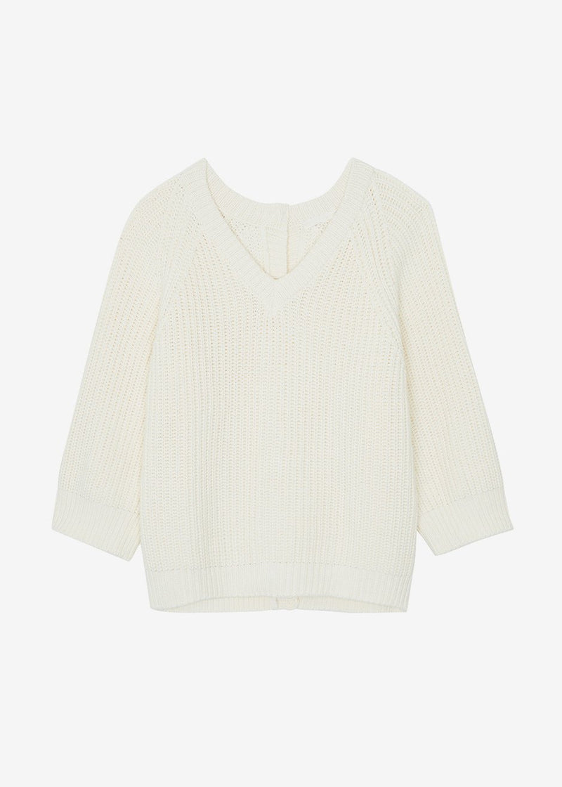 Chunky Button Back Pullover in Egret Sweater By Flow