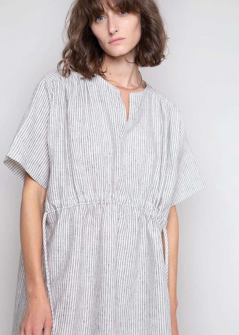 Cinch Waist Tunic Dress in Pewter Stripe Dress Bronze