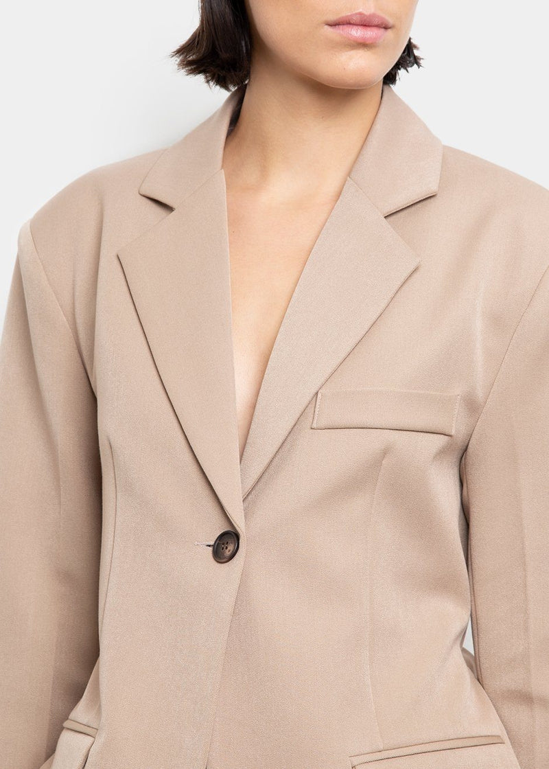 Cinched Belt Blazer- Tan Beige Blazer Stage