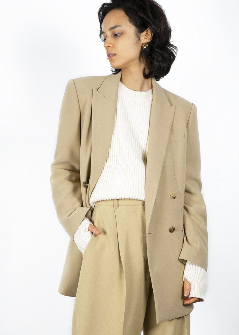 Classic Beige Belted Suit Pants with Button Tab Cuff Pants Blossom