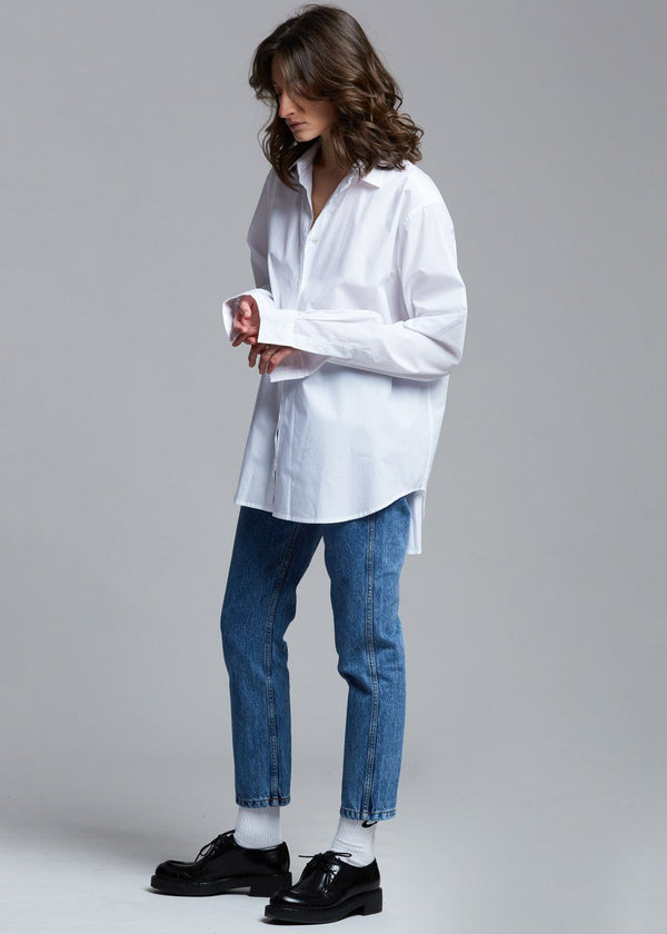 Classic Oversized Button Down Shirt in White Shirt The Frankie Shop