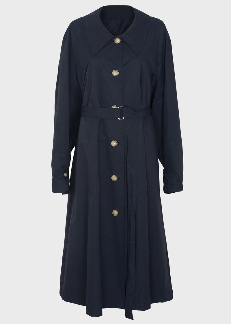 Classic Tortoise Button Trench Coat in Navy Coat the9s