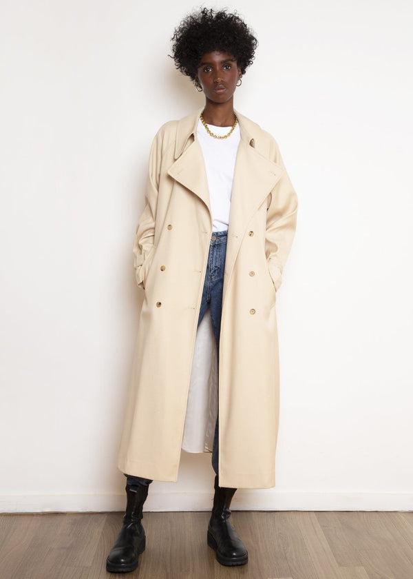 Classic Woven Trench in Buff Coat The Frankie Shop