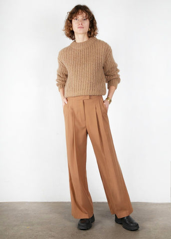 Clay Brown Pleated Straight Suit Pants Pants Mainstay