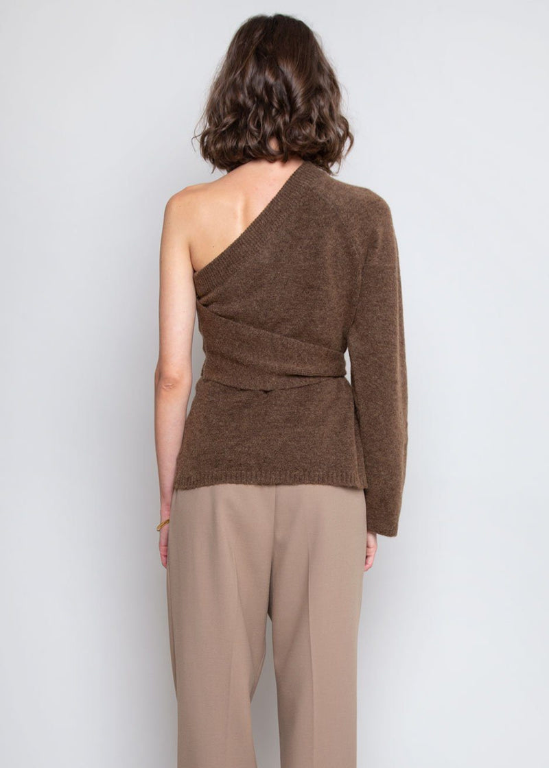 Cleto One Sleeve Asymmetric Sweater by Nanushka in Brown Sweater Nanushka