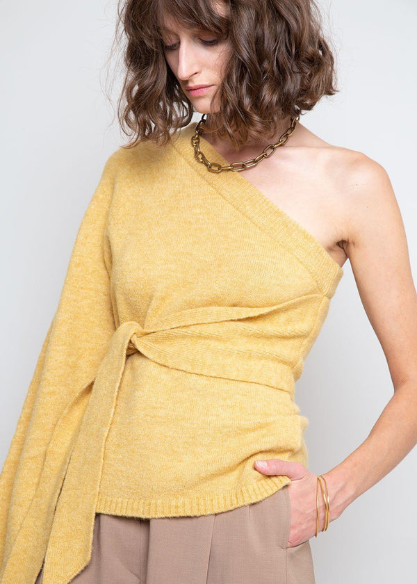 Cleto One Sleeve Asymmetric Sweater by Nanushka in Yellow Sweater Nanushka