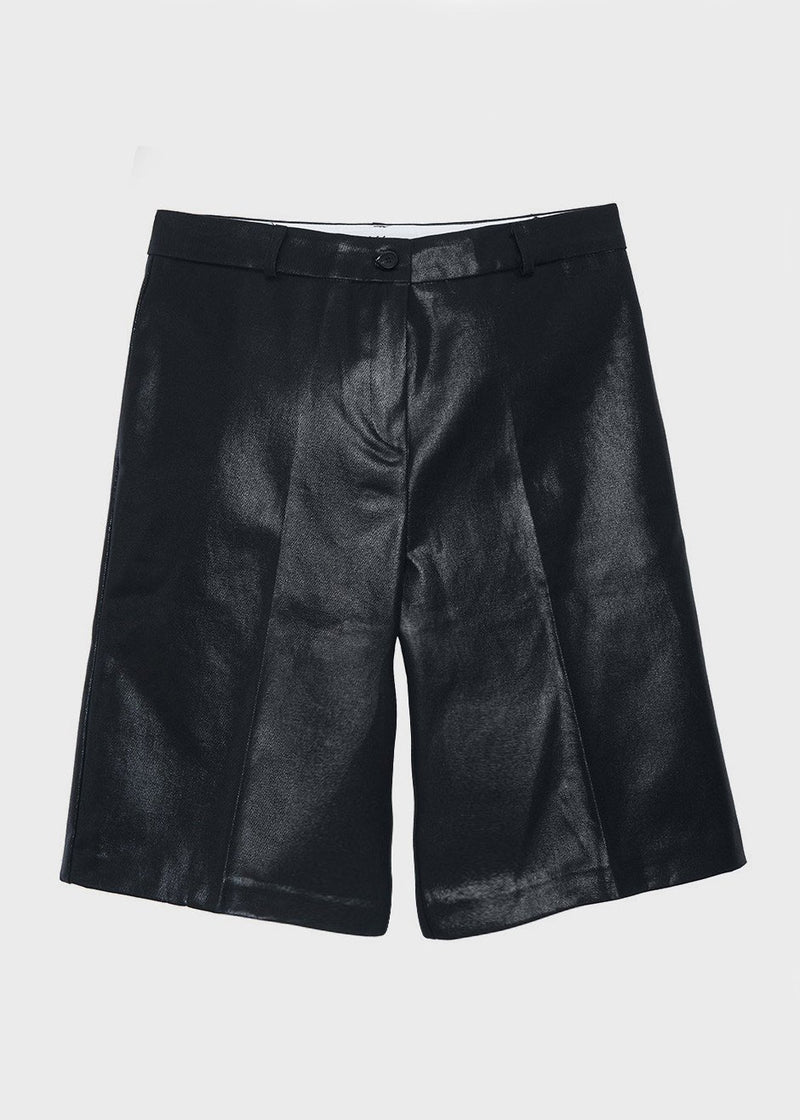 Coated Bermuda Shorts in Black Shorts The Frankie Shop