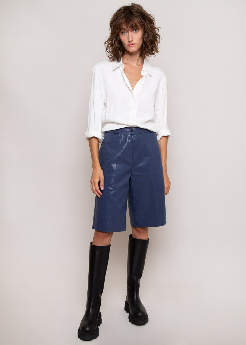 Coated Bermuda Shorts in Cobalt Shorts The Frankie Shop