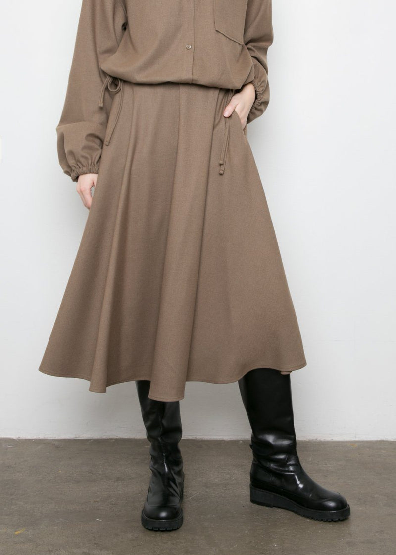 Coffee Brown A-Line Midi Skirt Skirt Beside You
