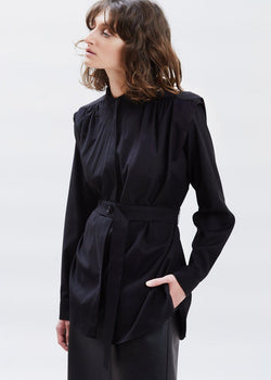 Collarless Padded Shoulder Belted Shirt in Black Top Ready 2 Wear