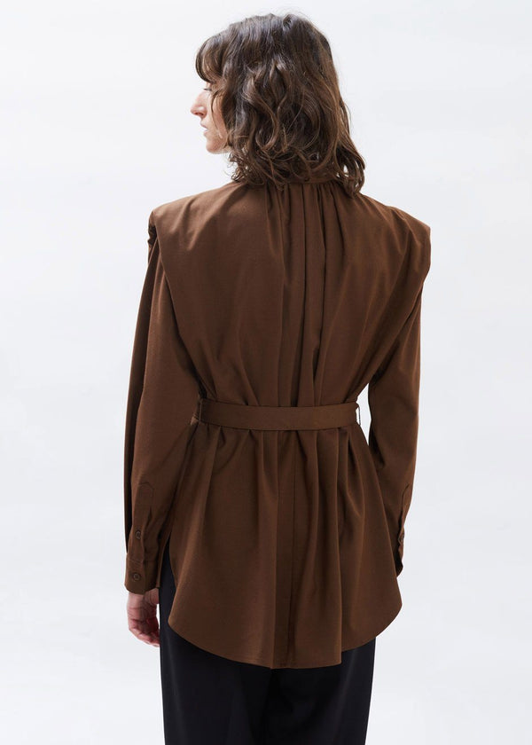 Collarless Padded Shoulder Belted Shirt in Chocolate Top Ready 2 Wear