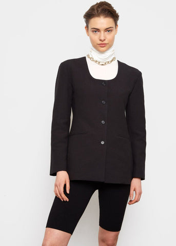 Collarless Puckered Blazer- Black Blazer Blossom