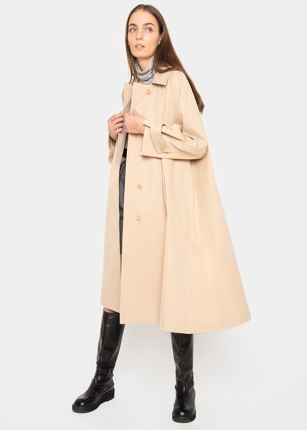 Concealed Button Trench Coat- Tan Beige trench Jelome
