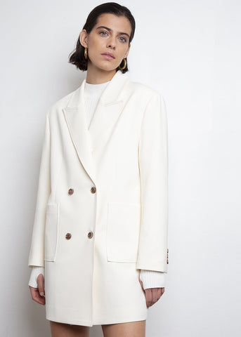 Contrast Button Pockets Blazer- Ivory blazer London Flat