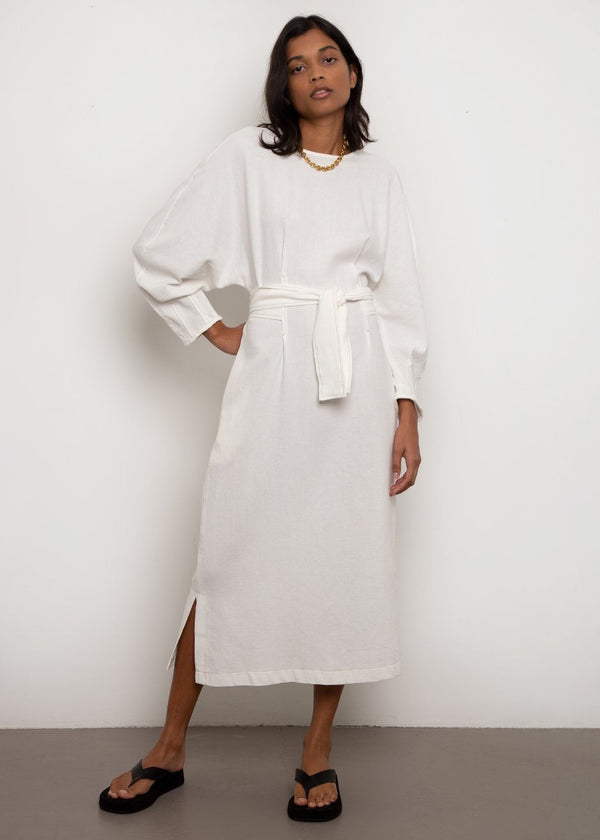 Contrast Stitching Belted Dress- Cream Dress Bambolina