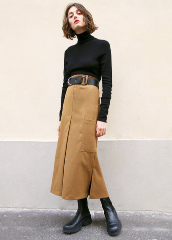 Copper Brown Single Pocket Slit Skirt Skirt Ready 2 Wear