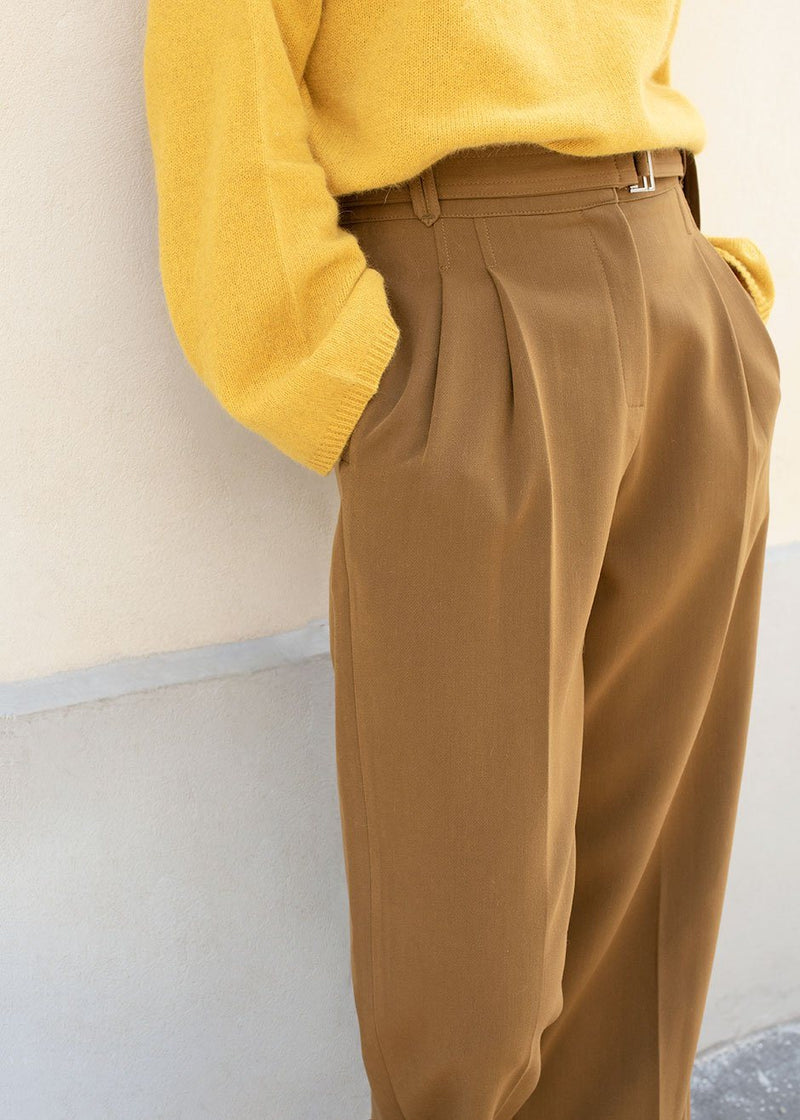 Copper Pleated Trousers with Silver Buckle Belt Pants Jelome