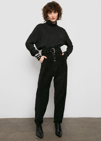 Corduroy Paperbag Pants in Black Pants 2two moon