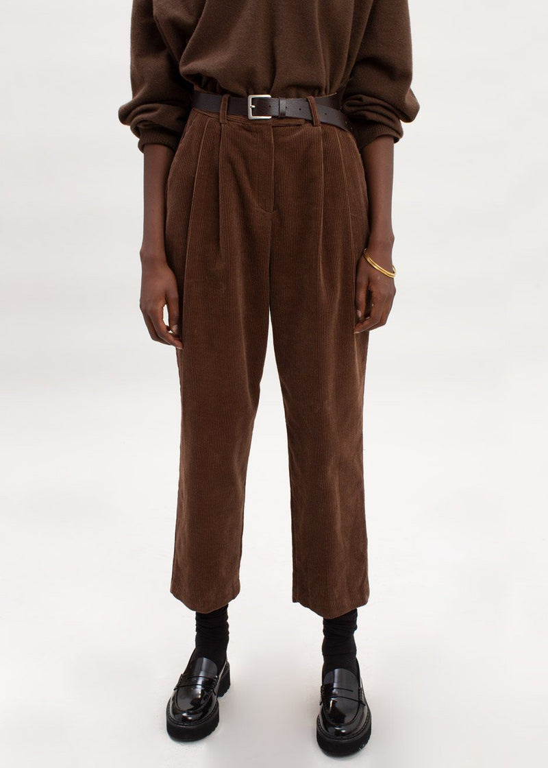 Corduroy Pleat Front Trousers in Chocolate Pants Leau D'ver