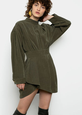 Corduroy Pleated Mini Dress in Green Dress Made