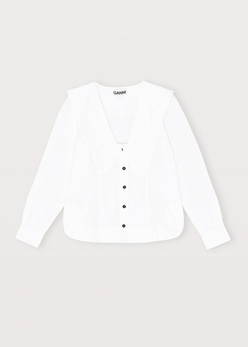 Cotton Poplin Ruffle Collar Blouse by GANNI in Bright White Blouse Ganni