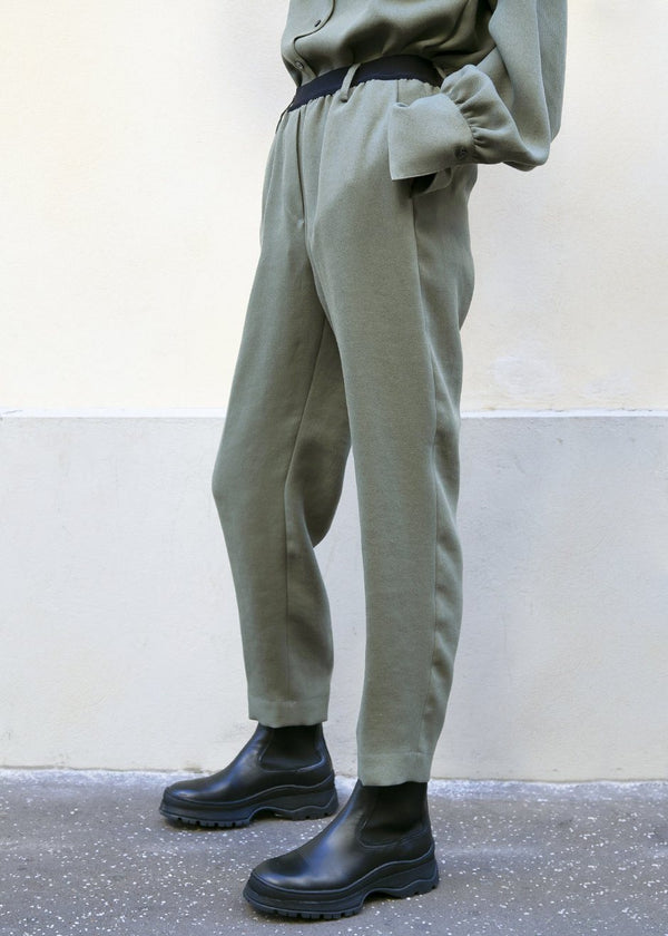 Covert Contrast Band Pants in Grey Green Pants Covert