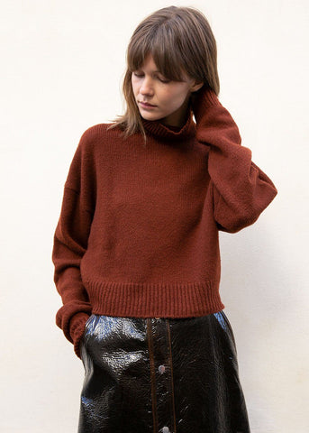Covert Turtleneck Sweater in Maroon Sweater Covert