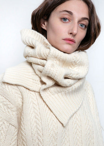 Cream Cable Knit Wool-Blend Snood Scarf No Promise