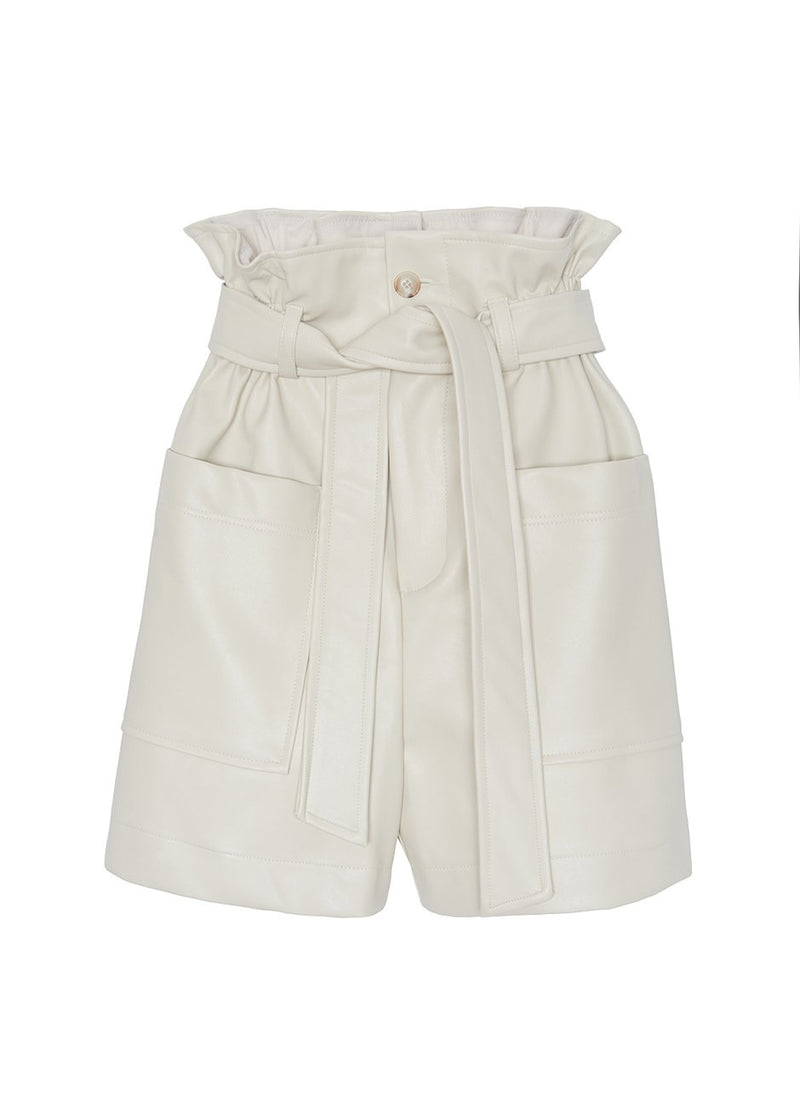 Cream Leather Paperbag Shorts Shorts The Frankie Shop