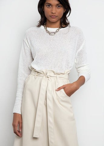 Crewneck Open Knit Sweater-Ivory Pearl Sweater London Flat