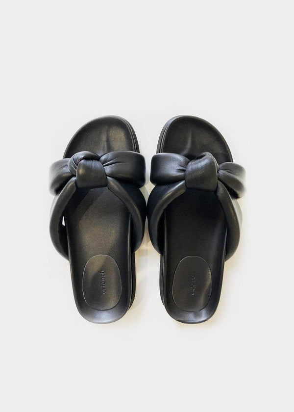 Criss-Cross Knotted Leather Slides in Black Shoes Cafe Noir