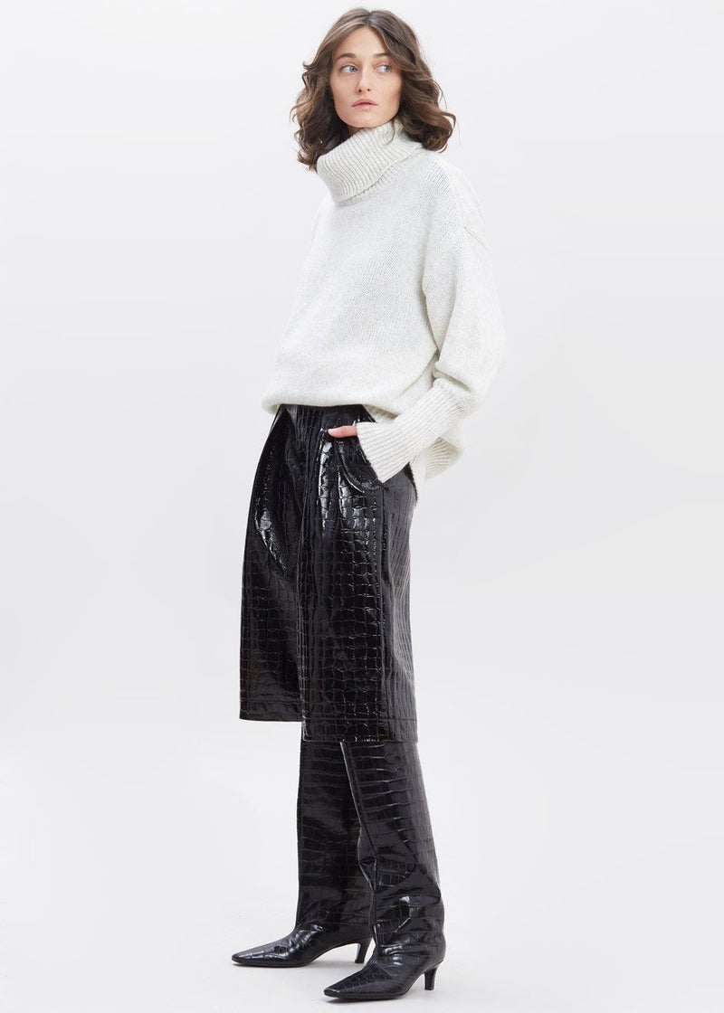 Croc Embossed Patent Long Shorts in Black Shorts Paper Moon