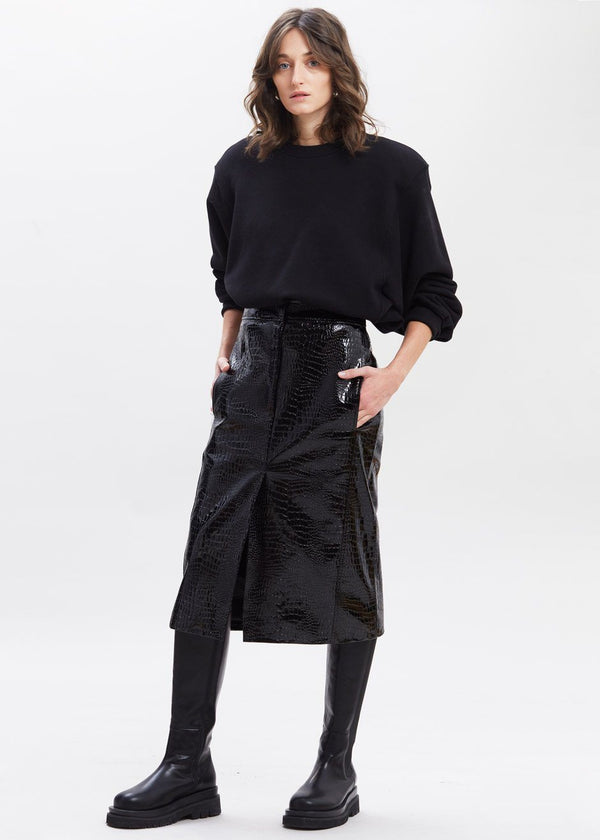 Croc Embossed Patent Midi Skirt in Black Skirt Paper Moon