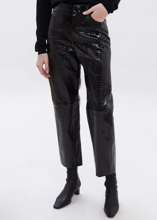 Croc Embossed Patent Tapered Pants in Black Pants Paper Moon