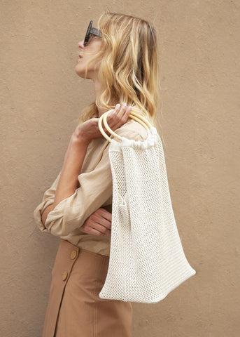 Crochet Knit Bag with Wooden Handles in Light Beige Bags Blossom