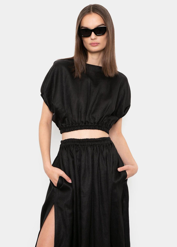 Cropped Cocoon Blouse by Matteau- Black Top Matteau