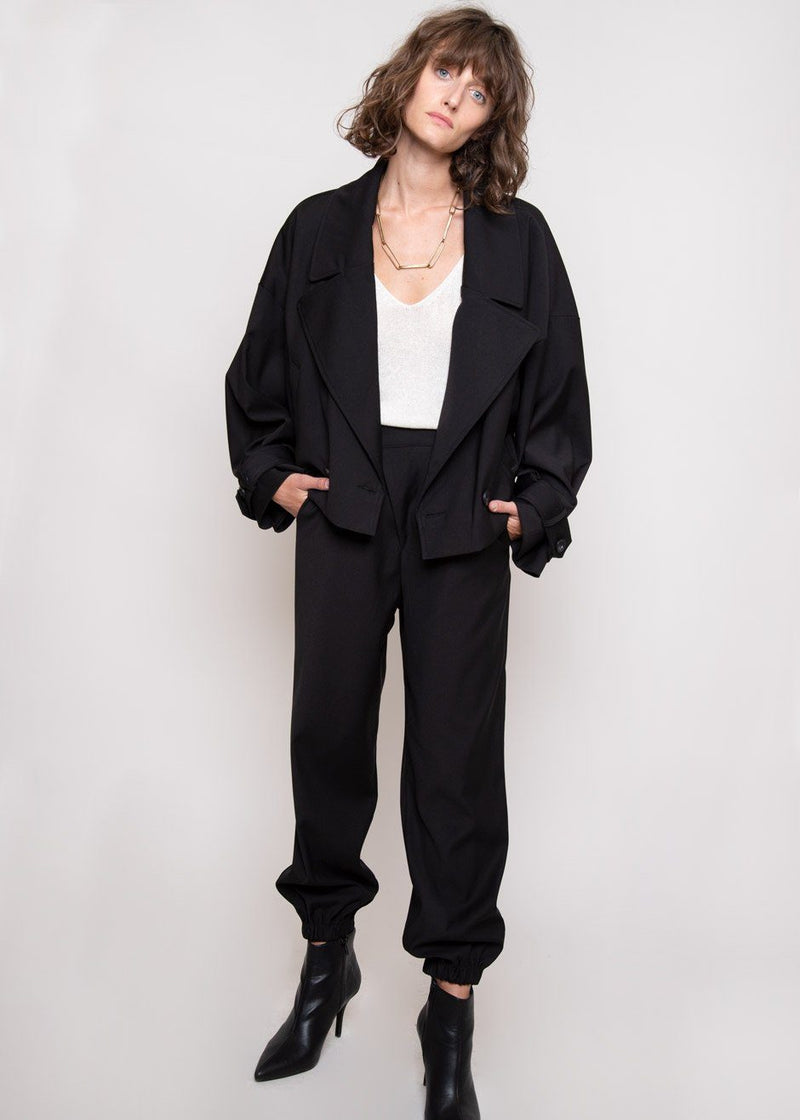Cropped Double Breasted Trench Jacket in Black Jacket Getting On