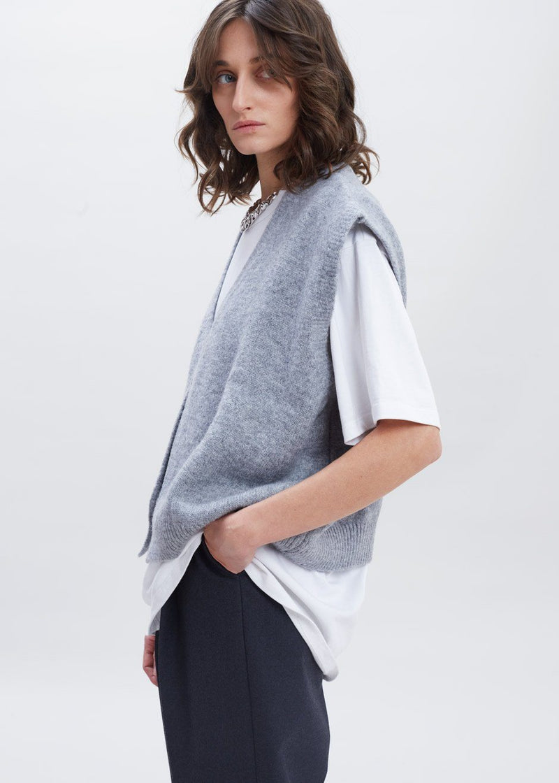 Cropped Hidden Placket Sweater Vest in Heather Grey Sweater More than Yesterday