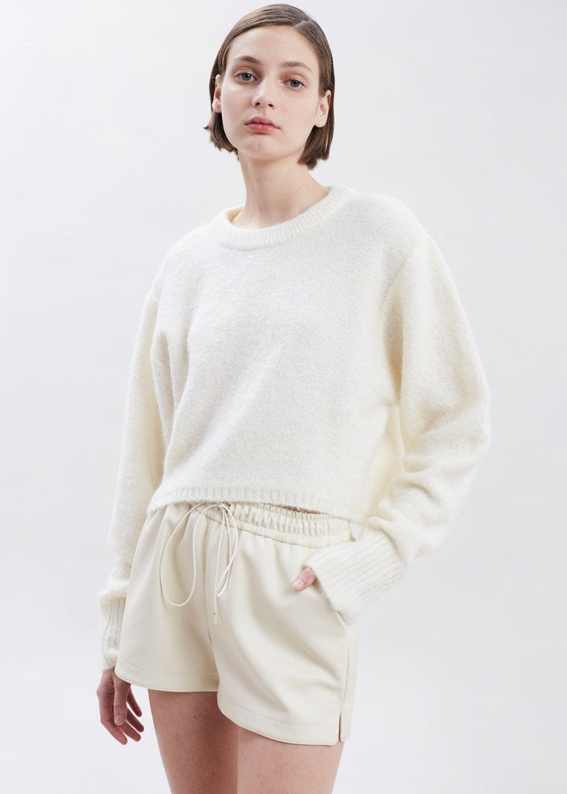 Cropped High-Low Crewneck Sweater in Cream Sweater London Flat