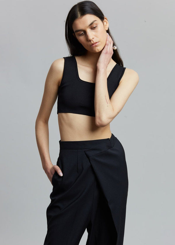 Cropped Knit Top by Low Classic in Black Top Low Classic