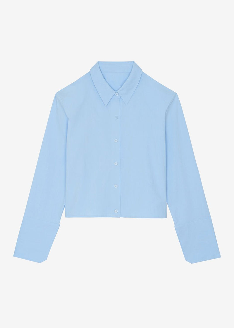 Cropped Padded Shoulder Cotton Shirt in Sky Shirt The Frankie Shop