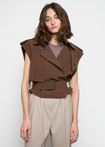 Cropped Vest Jacket- Walnut Brown Jacket Gront